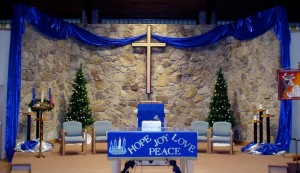 photo of a worship center prepared for Advent