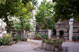 photo of courtyard with trees and planter