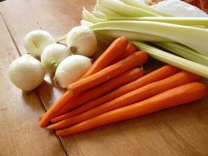 photo of fresh carrots, onions, celery