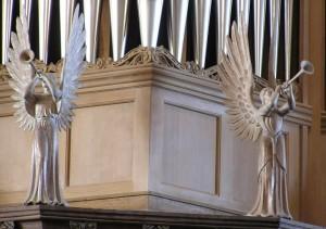 photo of Angels on organ at St. David's Cathedral, Wales, UK