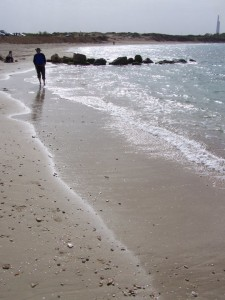 picture of man walking along a beach