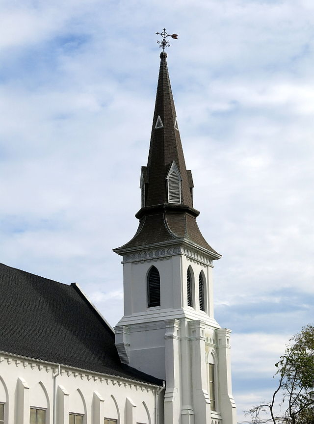 The steeple of Emanuel African Methodist Church, Charleston, SC