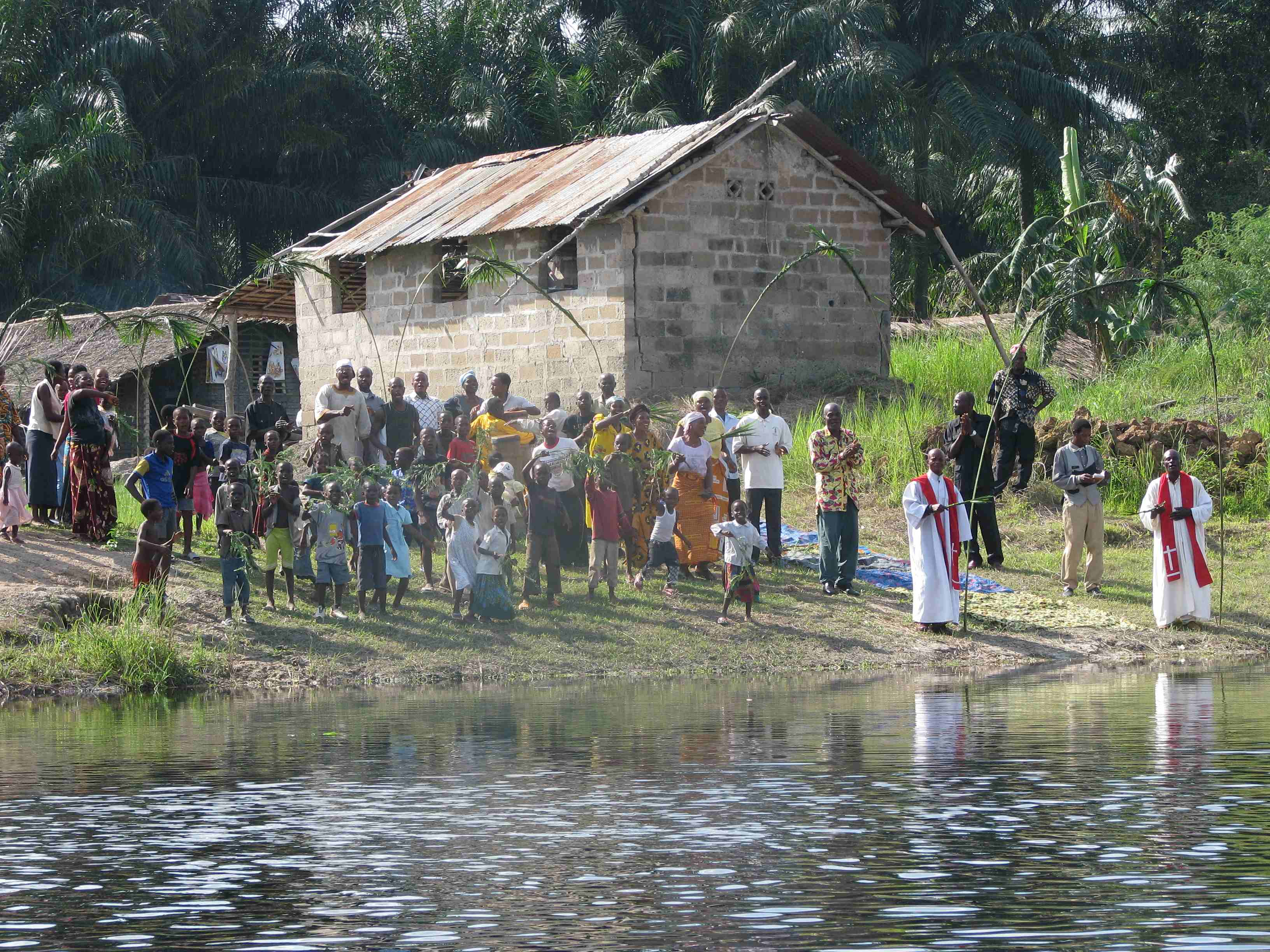 image of congregation at the river