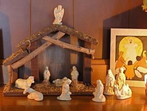 photo of manger scene with ceramic figures
